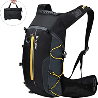 WESTGIRL Cycling Backpack Waterproof, Foldable Bicycle Daypack Hydration Pack with Waist Pocket, Breathable Lightweight for Outdoor Sports Travelling Mountaineering 10L