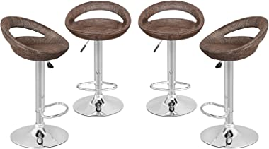 SUPER DEAL Adjustable Pub Wicker Style Barstool All Weather Patio Bar Stool Indoor/Outdoor w/Gas Lift 25-34 inch, Open Back a