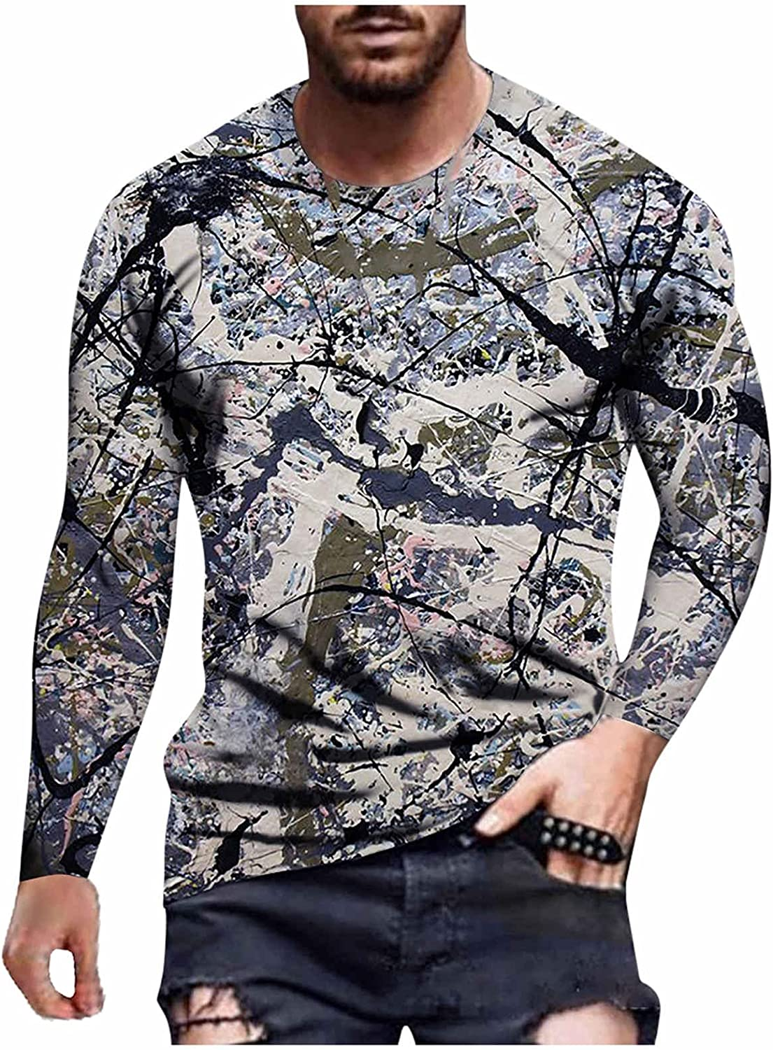 XXBR Soldier Long Sleeve T-shirts for Mens, Fall Street 3D Novelty Graphic Printed Workout Athletics Crewneck Tee Tops
