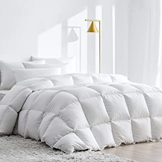 Royoliving Premium White Goose Down Comforter King Size All Season 100% Egyptian Cotton Cover Down Proof Duvet Insert with Corner Tabs, 60 Oz