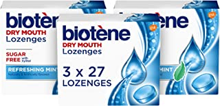 biotène Dry Mouth Lozenges for Fresh Breath Sugar free with Xylitol, Refreshing Mint, 81 Count