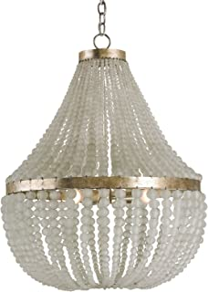 Kathy Kuo Home Edisto Hollywood Regency Style White Beaded Chandelier