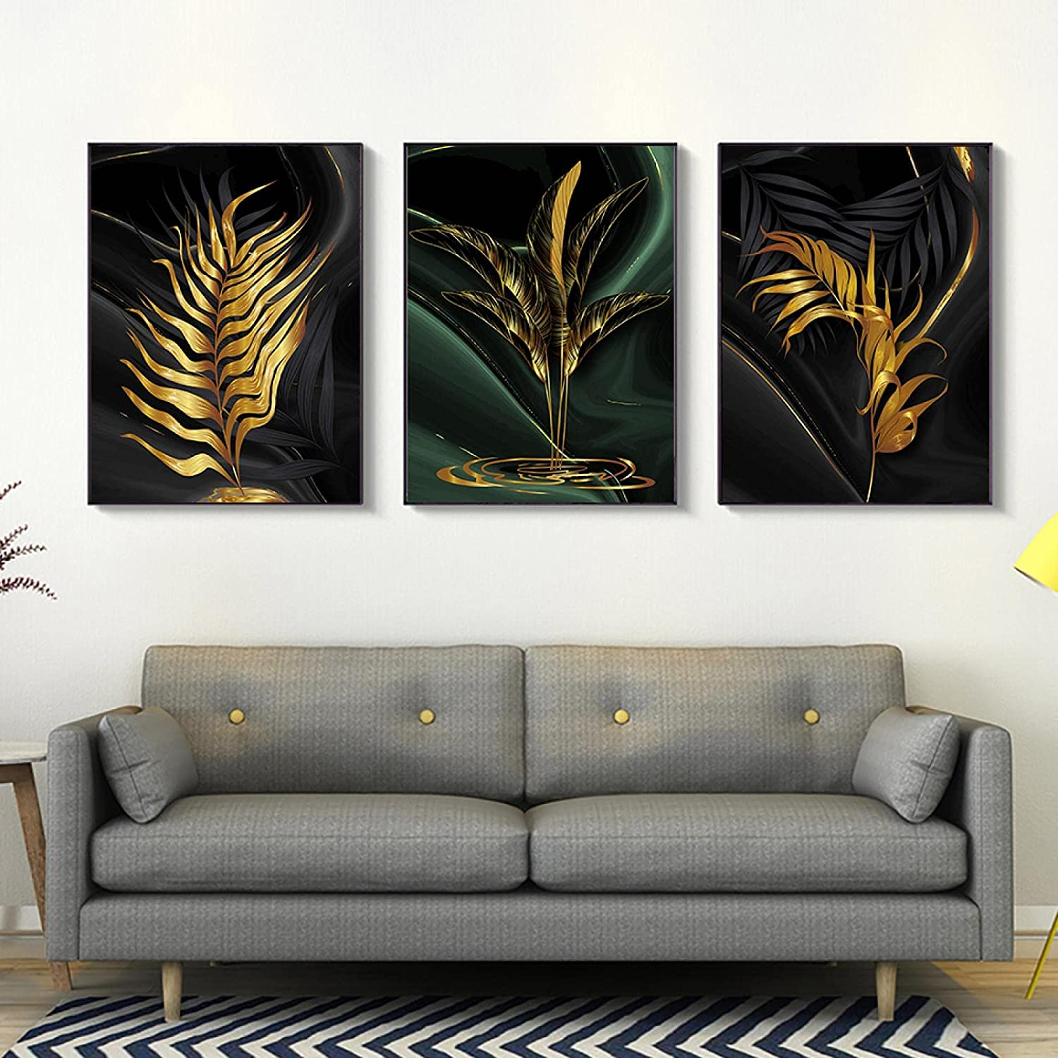 ZXWL Wall Art Poster Golden Over item handling Max 58% OFF ☆ Green Leave Decor Home Plant Nordic