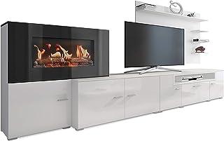 SelectionHome - Mueble salón comedor con chimenea eléctrica acabado Blanco Mate y Blanco Brillo Lacado medidas: 290 x 17...