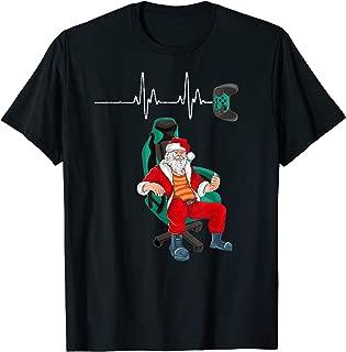 Christmas Gamer Heartbeat Santa Claus Video Game Lover Gift T-Shirt