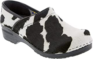Bjork Professional Safari Collection Leather Clogs in Black and White Cow