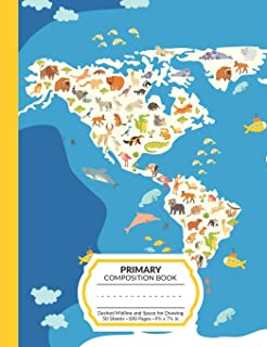 Primary Composition Book: World Animal Map K-2 and Early Elementary School Notebook | 100 Half Lined Half Blank For Writing and Drawing | Story Paper ... and Girls | Back To School Gift For Students