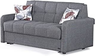 BEYAN Stella Collection Chenille Upholstered Sleeper Sofa with Storage, Solid Wood Frame, and Steel Innersprings, Grey