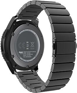 MoKo Gear S3 Watch Correa - Reemplazo de Acero Inoxidable Pulsera Strap Link Band para Samsung Gear S3 Frontier / S3 Classic/Moto 360 2nd 46mm Smartwatch (NO Apta S2 & S2 Classic & Fit2) Negro