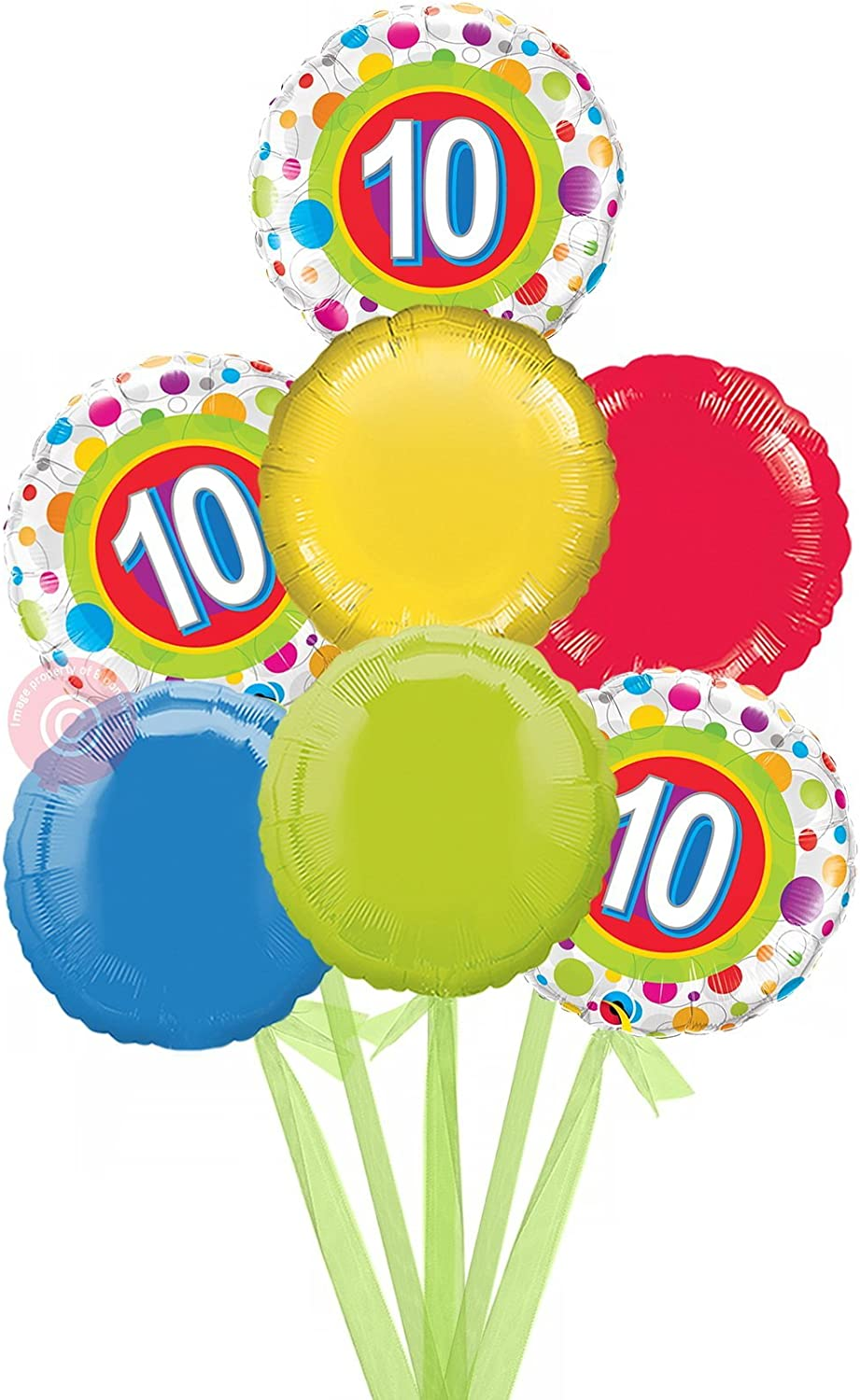 Num 10 Colourful Dots  Inflated Birthday Helium Balloon Delivered in a Box  Bigger Bouquet  7 Balloons  Bloonaway