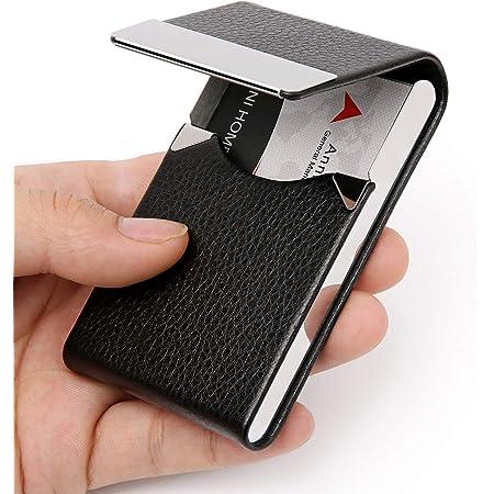 DMFLY Business Card Holder Case - PU Leather Business Card Case Name Card Holder Slim Metal Pocket Card Holder with Magnetic Shut, Black