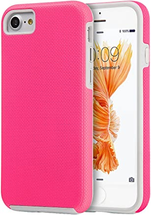 DreamWireless Funda Doble Protector de Uso Rudo, Antideslizante con Botones para iPhone 7 / iPhone 8, Color Rosa