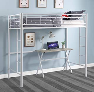 DCraft Berdine Metal Loft Bed, Twin - Cotton White