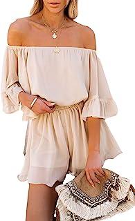 Sponsored Ad - VamJump Women's Summer Rompers Off Shoulder Boho Floral Print Casual Shorts Jumpsuits