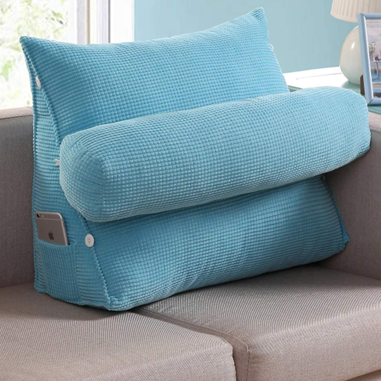 TYUIO Big Reading & Bed Rest Pillow with Arms - Sitting Up Tall - Premium 100% Polyester Fiber, Detachable Neck Roll, Removable Covers & Zipper for Adjustable (color   bluee, Size   45cm)