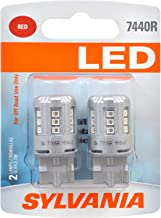 SYLVANIA - 7440 T20 LED Red Mini Bulb - Bright LED Bulb, Ideal for Stop and Tail Lights (Contains 2 Bulbs)