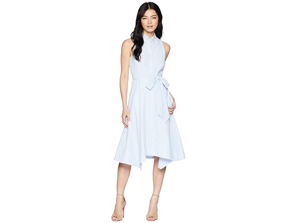 Tahari by ASL Petite Seersucker Shirtdress (Blue/White) Women