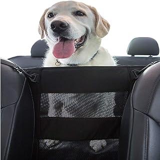 PET DEZINE Dog Car Safety Barrier - Front & Back Seat Barrier, Travel Safe Pet Car Net, Suitable for All Size Dogs, Easy T...
