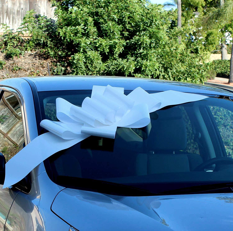 Lazo Blanco grande para el auto - Completamente ensamblado, 63 cm de ancho (25 pulgadas), Pascua, Mardi Gras, Decoración grande de regalo de Navidad, Decoración de regalo de cumpleaños: Amazon.es: Hogar