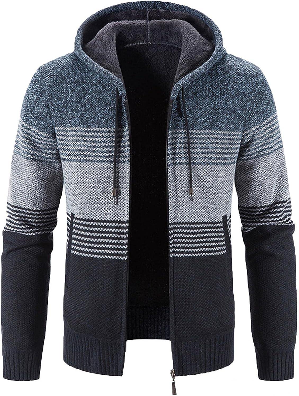 VEKDONE Men's 2021 Fleece 35% OFF Hooded Stripes Full Fit Jackets St Slim Zip