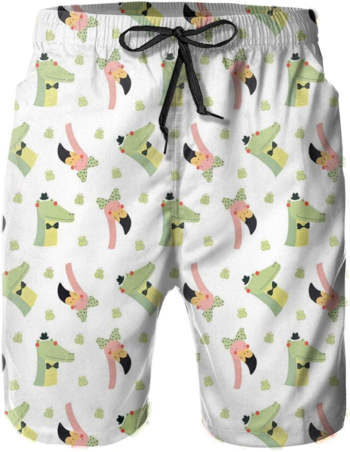 Crocodile and Flamingo Drawing with Polka Dots Bow Tie Butterflies Mens Swim Trucks Shorts with Mesh Lining,L