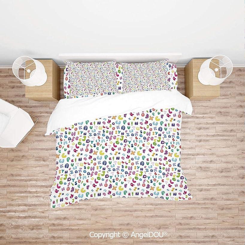 PUTIEN Modern Cotton Bedding 4 Pieces Set Duvet Cover Set,Cute Colorful Alphabet ABC Bubble Letters Doodle Style Fun Childish Nursery Design,with Hidden Zipper Closure.
