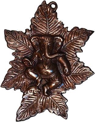 eCraftIndia Lord Ganesha on Maple Leaf Metal Wall Hanging (20.32 cm x 1.27 cm x 25.4 cm, Brown)