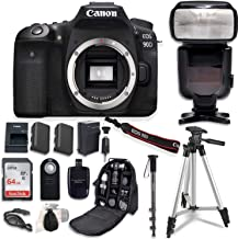 Canon EOS 90D Digital SLR Camera Bundle (Body Only) with Professional Accessory Bundle (14 Items)