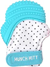 Malarkey Kids Munch Mitt Teething Mitten - The ORIGINAL Mom-Invented Silicone Teether Mitten with Travel Bag – Ideal Teething Toys for Baby Shower Gift - Aqua Polka Dot