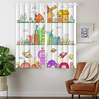 SXCHEN W24 x L36 Inch Blackout Curtains 2 Panels Grommet Curtains Darkening for Bedroom Funny City Country Alien Planet Stick Figure Skyline