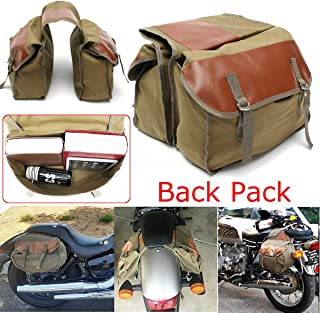 Everrich Universal Backpack Motorcycle Saddle Bag Waterproof - Carrying Rear Saddle Bag Motorcycle Seat Bag Horse Trunk - Vintage - Large Capacity