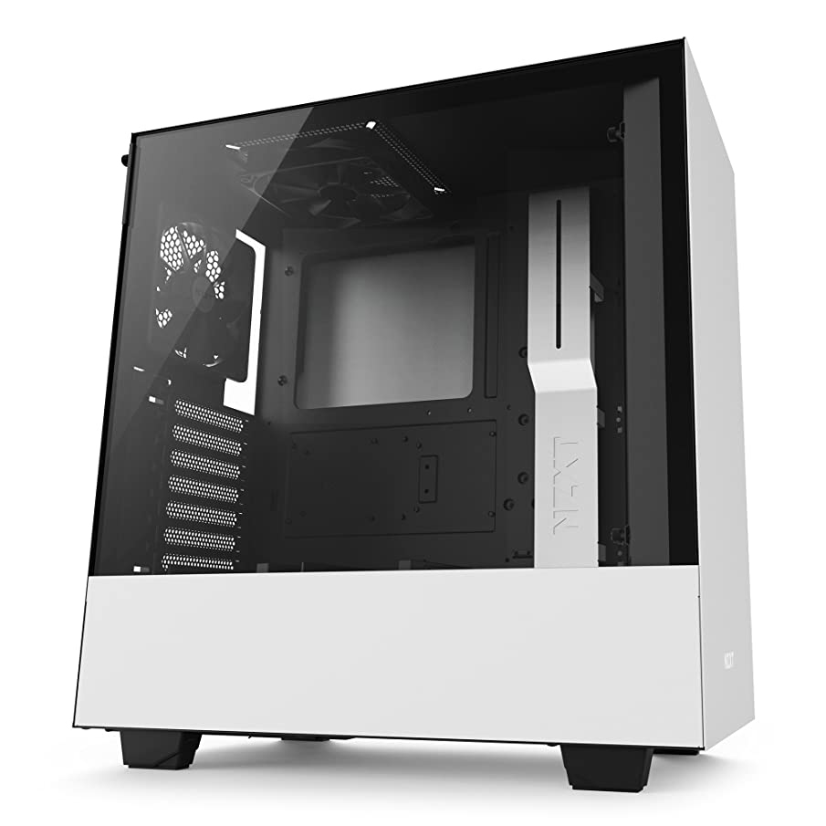 NZXT H500 White and Black Mid Tower PC Case with 2 AER F Fans, Tempered Glass Side Panel, 2 USB 3.0 Ports, Supports ATX, MicroATX and Mini-ITX Motherboards
