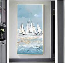 Handgeschilderd Olieverfschilderij - Abstracte Moderne Witte Zeilboten 100% Met De Hand Geschilderd Olieverfschilderij Op ...