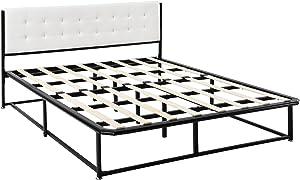 [en.casa]®] Cama de Metal - Cama Doble - Negro - 140 x 200cm - cabecera tapizada en Piel sintético