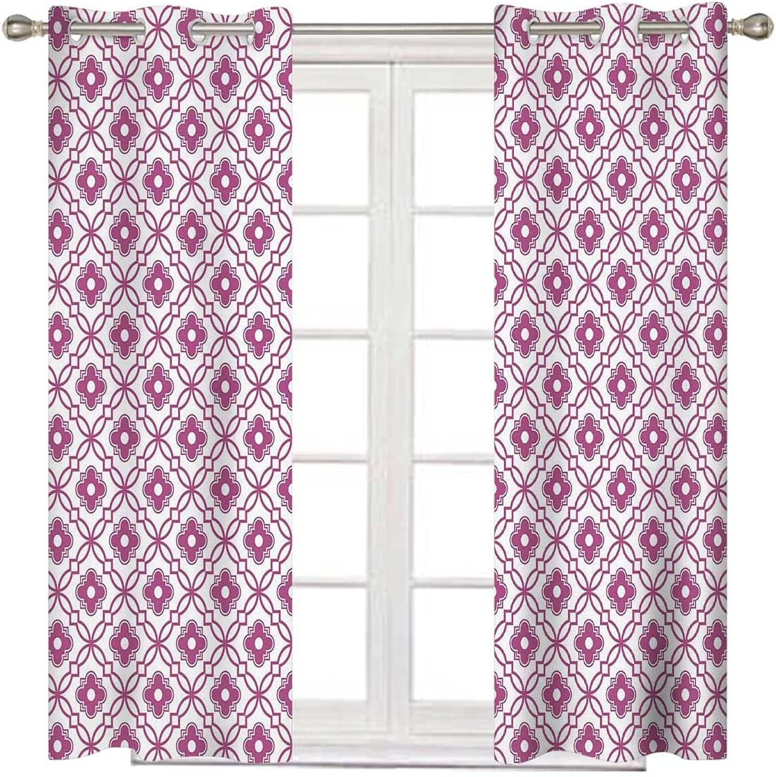 Quatrefoil Short Curtain 84 Inches Thermal Now free shipping I Long White Fuchsia Brand new