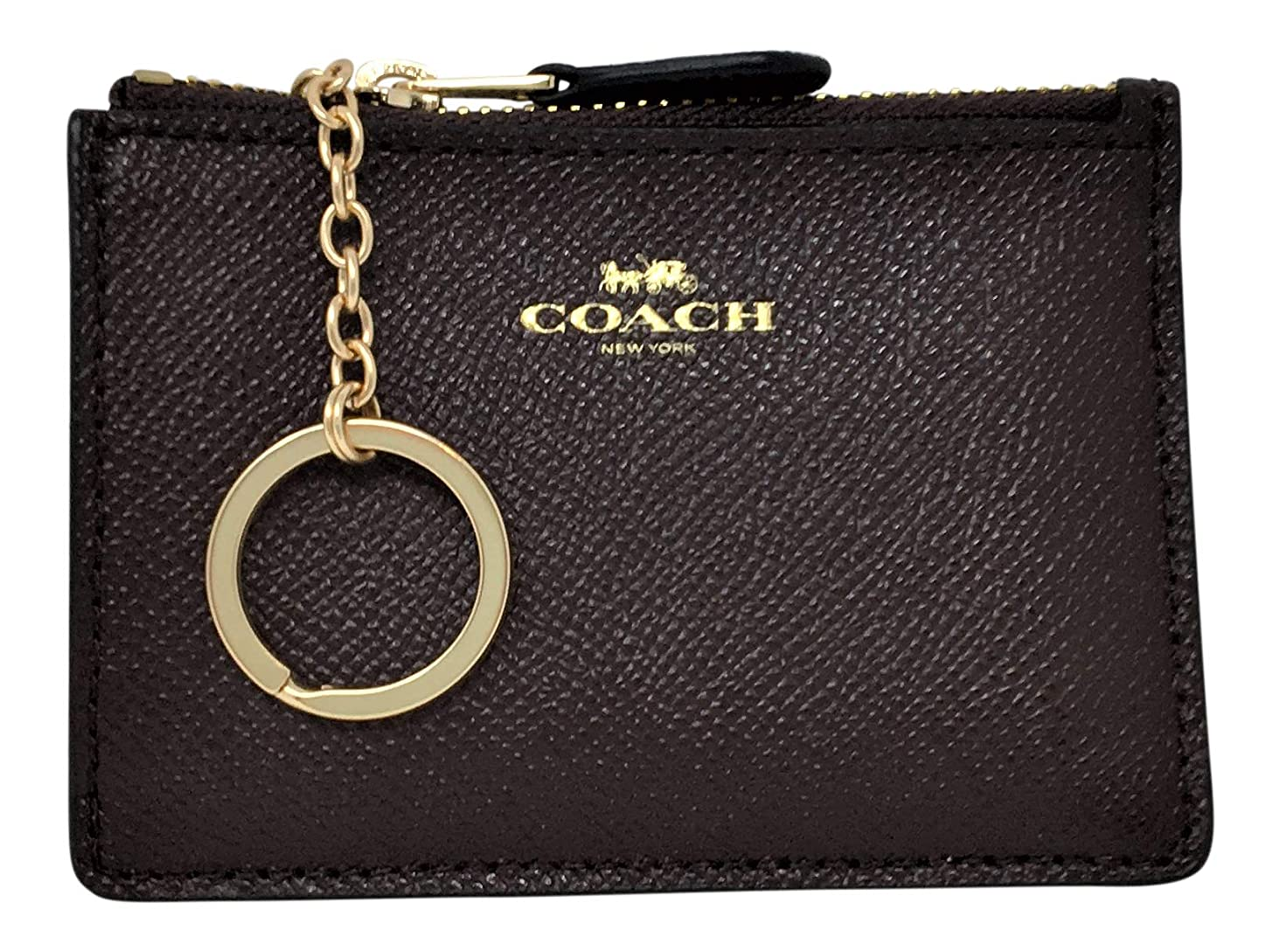 Coach Crossgrain Leather Mini Skinny ID Coin Case Oxblood F12186