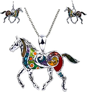 Colorful Enameled Horse Pendant Necklace and Earrings Set, 24