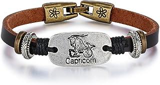 Women's Vintage Zodiac Sign Capricorn Charm Leather Bracelet - Dark Brown Color