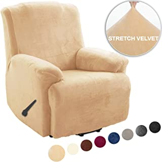 TIANSHU Fleece Recliner Covers 1 Piece, Velvet Plush Recliner Chair Slipcovers, Luxury Furniture Covers for Recliner Couch Cover with Pocket (Recliner, Warm Sand)