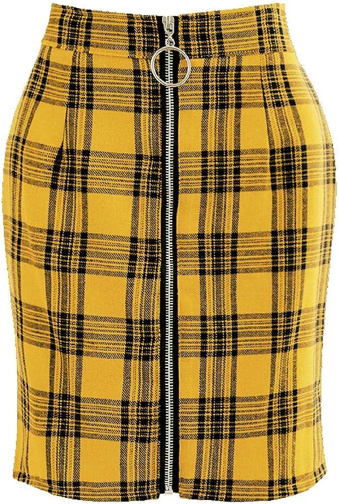 Ladies Plaid Zipper High Waist Pack Hip Short Mini Skirt Party Fashion