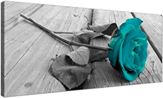 Modern Black and White Canvas Wall Art of a Teal Rose Flower - Large Floral Canvas Pictures - 1037 - Wallfillers® by Wallfillers
