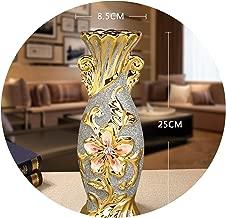 Europe Gold Plated Frost Porcelain Vase Vintage Advanced Ceramic Flower Vase for Room Study Hallway Home Wedding Decoration,Small Style C