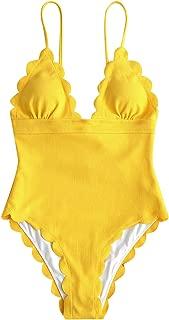 Women's One Piece Swimsuit Scalloped Trim Bikini Solid Backless High Cut Leg Bathing Suits