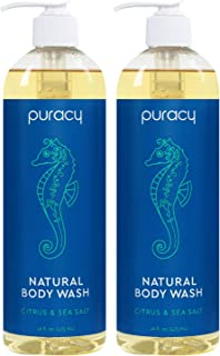 Puracy Natural Body Wash for Men and Women, Citrus & Sea Salt Skin Softening Bath..