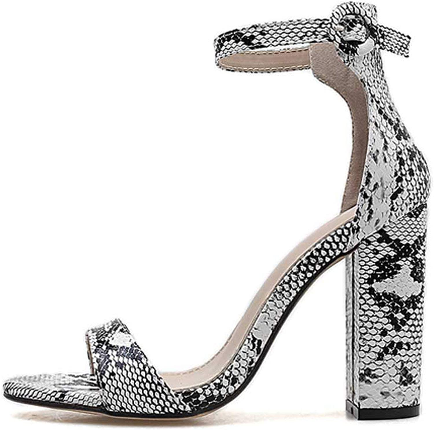 HANBINGPO Women Ankle Strap Sandals Snake Print Square Heel Fashion Pointed Toe Ladies Fashion shoes New Women Sandals