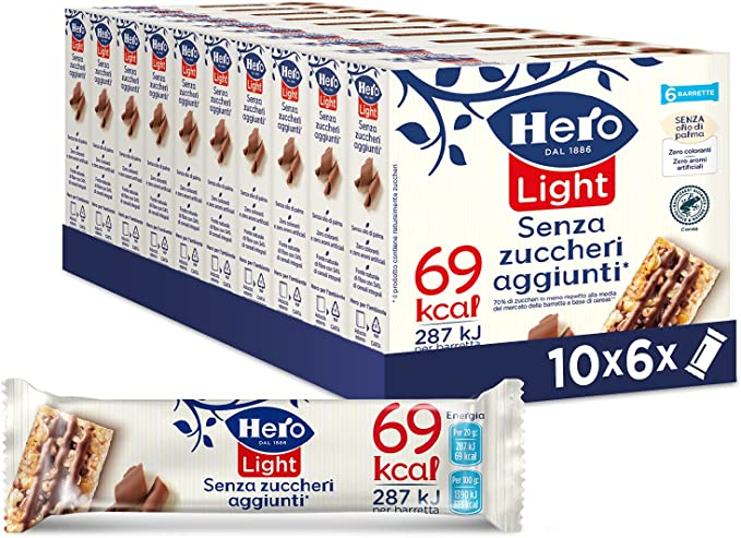 269 opinioni per Hero Light barrette ai cereali e cioccolato, 10 confezioni da 6 barrette X 20