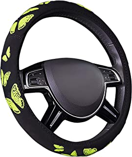 CAR PASS Pretty Butterfly Universal Steering Wheel Cover,Fit for Suvs,Vans,Trucks,Sedans,Cars(Black and Yellow)