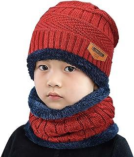 NITTEB Set Berretto e Sciarpa Caldo e Confortevole Unisex per Bambino e Bambina Disponibile in 3 Colori Rosso Rosa Blu Cappello Invernale Natalizio con Paraorecchie
