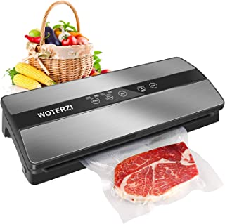 WOTERZI Vacuum Sealer Machine Automatic Food Sealer System with 10 BPA Free Bags for Food Savers and Sous Vide Cooking, Super Low Noise, Easy to Clean, Compact Design Vacuum Packing Machine, Sliver & Black