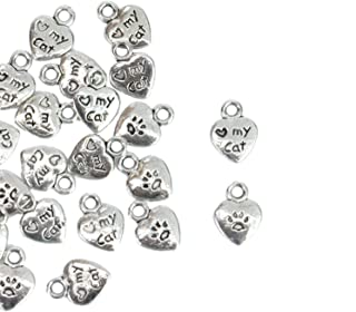 Monrocco 80 Pack Antique Silver Heart Love My Cat Charms Double Sided Pawprint Lettering Pet Charm Bulk for Bracelet Jewelry Making